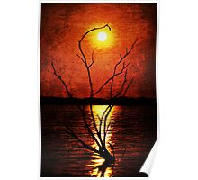 Moon Rising Textured Photo Poster