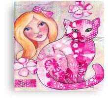 Girl with Pink Cat Canvas Print