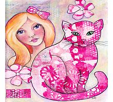 Girl with Pink Cat Photographic Print