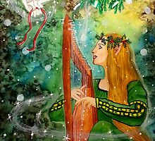 Gifts Give, Gifts Returned - Elf Maiden Harp Player by CarolOchs
