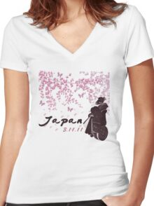 Japan Earthquake Tsunami Relief Cherry Blossoms Women's Fitted V-Neck T-Shirt