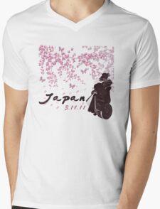 Japan Earthquake Tsunami Relief Cherry Blossoms Mens V-Neck T-Shirt