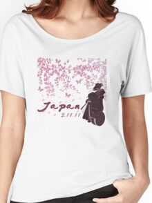 Japan Earthquake Tsunami Relief Cherry Blossoms Dark T-Shirt Women's Relaxed Fit T-Shirt