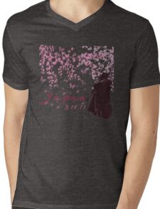 Japan Earthquake Tsunami Relief Cherry Blossoms Dark T-Shirt Mens V-Neck T-Shirt