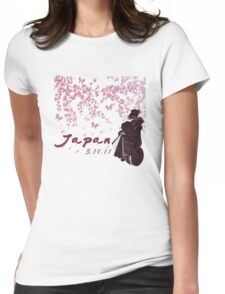 Japan Earthquake Tsunami Relief Cherry Blossoms Dark T-Shirt Womens Fitted T-Shirt