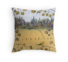 Little Bird and Fence Throw Pillow