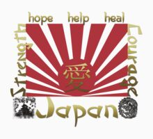 Japan Earthquake Tsunami Relief Rising Sun T-Shirt by Linda Allan