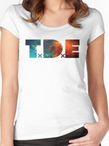 TDE TOP DAWG BLUE AND ORANGE NEBULA Women's Fitted Scoop T-Shirt