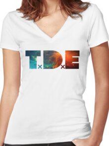 TDE TOP DAWG BLUE AND ORANGE NEBULA Women's Fitted V-Neck T-Shirt