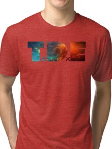 TDE TOP DAWG BLUE AND ORANGE NEBULA Tri-blend T-Shirt