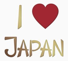 I Love Japan Gold T-Shirt by Linda Allan