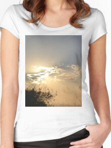Sunset behind clouds Women's Fitted Scoop T-Shirt