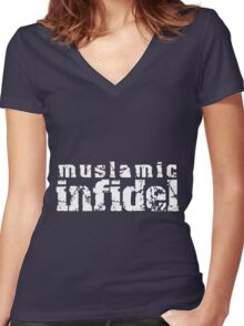 'Muslamic Infidel' Stencil (White) Women's Fitted V-Neck T-Shirt