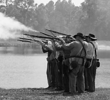 Volley fire BW by Larry  Grayam