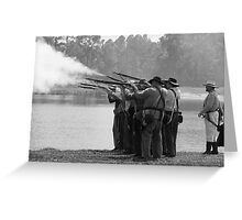 Volley fire BW Greeting Card
