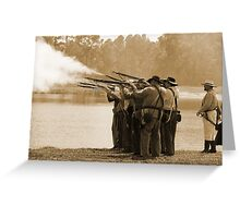 Volley Fire in sepia Greeting Card