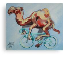 Camel on a Bicycle Canvas Print