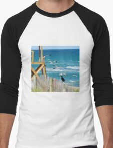Black Bird And Seagulls Men's Baseball ¾ T-Shirt