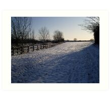 Snow Scene in Hertfordhire Art Print