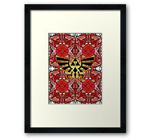 Hylian Royal Crest - Legend Of Zelda - Pattern Red Framed Print