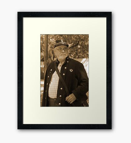 Lost in thought in sepia Framed Print
