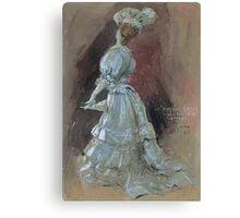 Jules Alexandre Grün An Elegant Lady with a Parasol Canvas Print