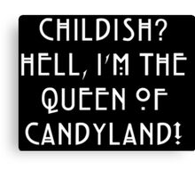 Queen of Candyland White Canvas Print