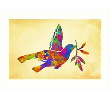 Colorful Peace Dove Art Art Print