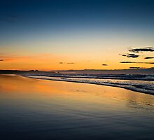 Sunset Bamburgh, Northumberland Coast. UK  by David Lewins