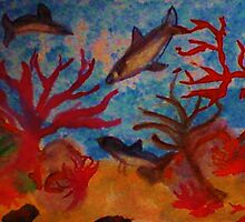 Sharks!!  Watercolor by Anna  Lewis, blind artist