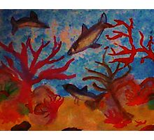 Sharks!!  Watercolor Photographic Print