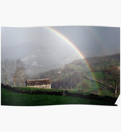 Rainbow over the mountains of Cantabria Poster