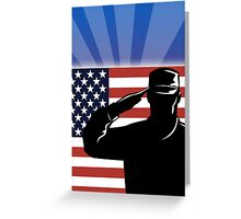 American soldier saluting stars and stripes flag Greeting Card