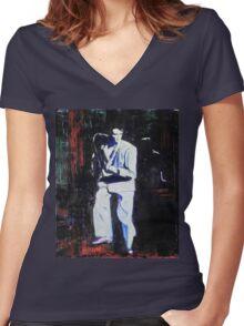 Portrait of David Byrne, Talking Heads Women's Fitted V-Neck T-Shirt