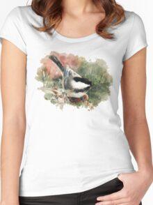 Chickadee Watercolor Art Women's Fitted Scoop T-Shirt