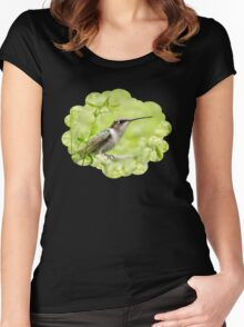 Hummingbird and Flowers Women's Fitted Scoop T-Shirt