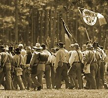 Skirmish line in sepia by Larry  Grayam