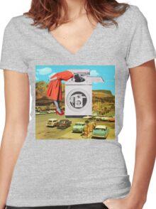 Watching machine Women's Fitted V-Neck T-Shirt