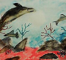 Frolicing Under the Sea,  watercolor by Anna  Lewis