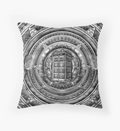 Aztec Time Lord Black and white Pencils sketch Art Throw Pillow