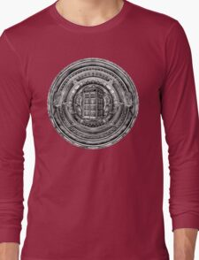 Aztec Time Lord Black and white Pencils sketch Art Long Sleeve T-Shirt
