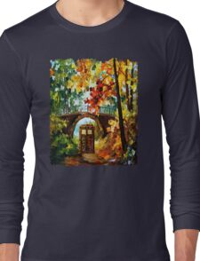 Abandoned time travel phone box under the bridge painting Long Sleeve T-Shirt