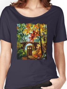 Abandoned time travel phone box under the bridge painting Women's Relaxed Fit T-Shirt