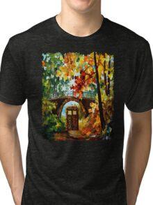 Abandoned time travel phone box under the bridge painting Tri-blend T-Shirt