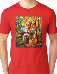 Abandoned time travel phone box under the bridge painting Unisex T-Shirt