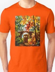 Abandoned time travel phone box under the bridge painting Unisex T-Shirt