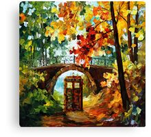 Abandoned time travel phone box under the bridge painting Canvas Print