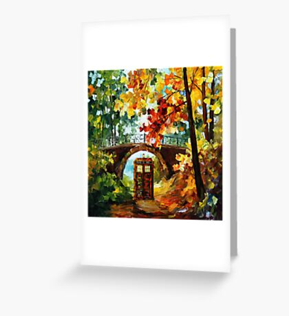 Abandoned time travel phone box under the bridge painting Greeting Card