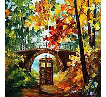 Abandoned time travel phone box under the bridge painting Photographic Print