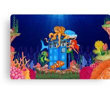 Blue Phone Booth Under the sea Canvas Print